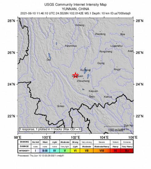 GEO Community Internet Intensity Map for the Longquan, China 5.1m Earthquake, Thursday Jun. 10 2021, 7:46:10 PM