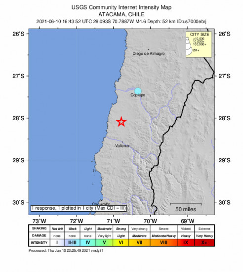 Community Internet Intensity Map for the Vallenar, Chile 4.6m Earthquake, Thursday Jun. 10 2021, 12:43:52 PM