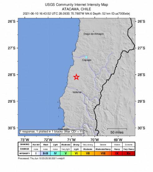 GEO Community Internet Intensity Map for the Vallenar, Chile 4.6m Earthquake, Thursday Jun. 10 2021, 12:43:52 PM