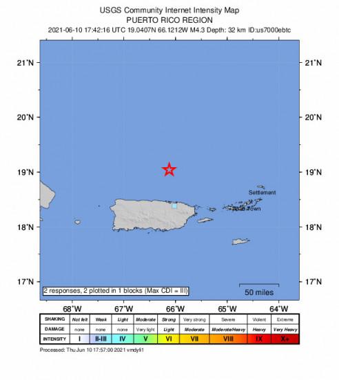 GEO Community Internet Intensity Map for the San Juan, Puerto Rico 4.3m Earthquake, Thursday Jun. 10 2021, 1:42:16 PM