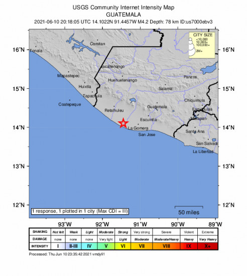 Community Internet Intensity Map for the Nueva Concepción, Guatemala 4.2m Earthquake, Thursday Jun. 10 2021, 2:18:05 PM