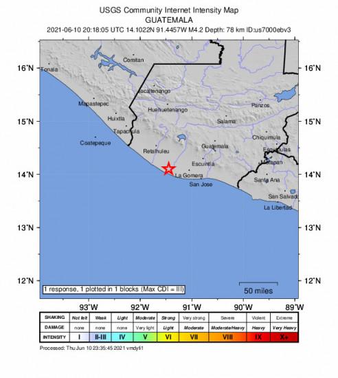 GEO Community Internet Intensity Map for the Nueva Concepción, Guatemala 4.2m Earthquake, Thursday Jun. 10 2021, 2:18:05 PM