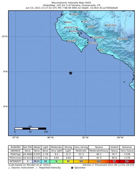 Macroseismic Intensity Map for the Sámara, Costa Rica 5.7m Earthquake, Thursday Jun. 10 2021, 5:27:02 PM