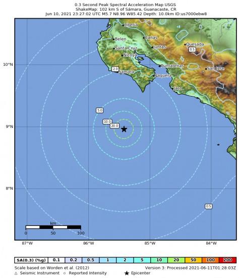 0.3 Second Peak Spectral Acceleration Map for the Sámara, Costa Rica 5.7m Earthquake, Thursday Jun. 10 2021, 5:27:02 PM
