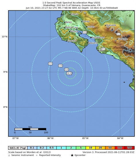 1 Second Peak Spectral Acceleration Map for the Sámara, Costa Rica 5.7m Earthquake, Thursday Jun. 10 2021, 5:27:02 PM