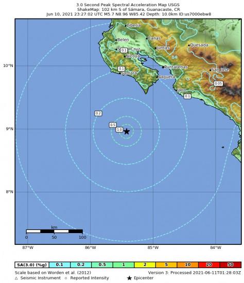 3 Second Peak Spectral Acceleration Map for the Sámara, Costa Rica 5.7m Earthquake, Thursday Jun. 10 2021, 5:27:02 PM