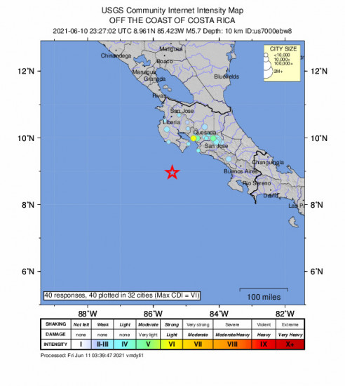 Community Internet Intensity Map for the Sámara, Costa Rica 5.7m Earthquake, Thursday Jun. 10 2021, 5:27:02 PM