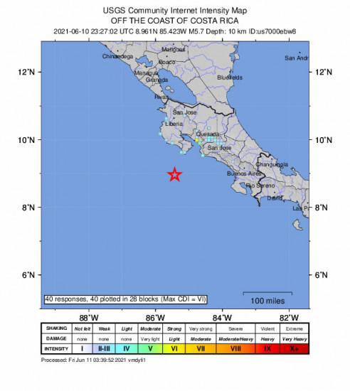 GEO Community Internet Intensity Map for the Sámara, Costa Rica 5.7m Earthquake, Thursday Jun. 10 2021, 5:27:02 PM