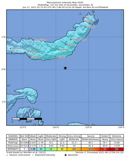 Macroseismic Intensity Map for the Gorontalo, Indonesia 5.5m Earthquake, Friday Jun. 11 2021, 10:23:43 AM
