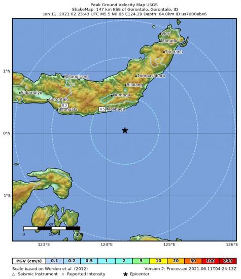 Peak Ground Velocity Map for the Gorontalo, Indonesia 5.5m Earthquake, Friday Jun. 11 2021, 10:23:43 AM