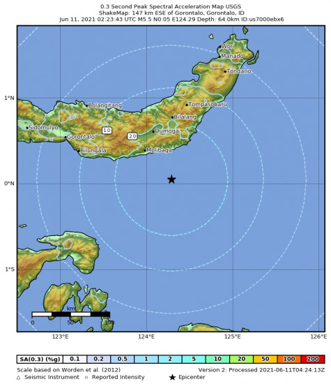 0.3 Second Peak Spectral Acceleration Map for the Gorontalo, Indonesia 5.5m Earthquake, Friday Jun. 11 2021, 10:23:43 AM