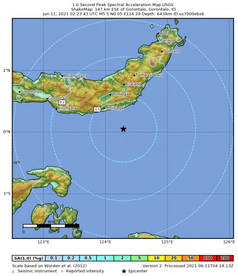 1 Second Peak Spectral Acceleration Map for the Gorontalo, Indonesia 5.5m Earthquake, Friday Jun. 11 2021, 10:23:43 AM