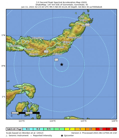 3 Second Peak Spectral Acceleration Map for the Gorontalo, Indonesia 5.5m Earthquake, Friday Jun. 11 2021, 10:23:43 AM