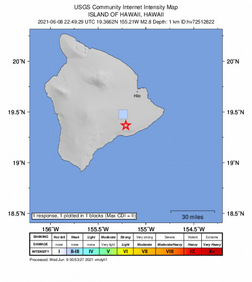 GEO Community Internet Intensity Map for the Volcano, Hawaii 2.75m Earthquake, Tuesday Jun. 08 2021, 12:49:29 PM