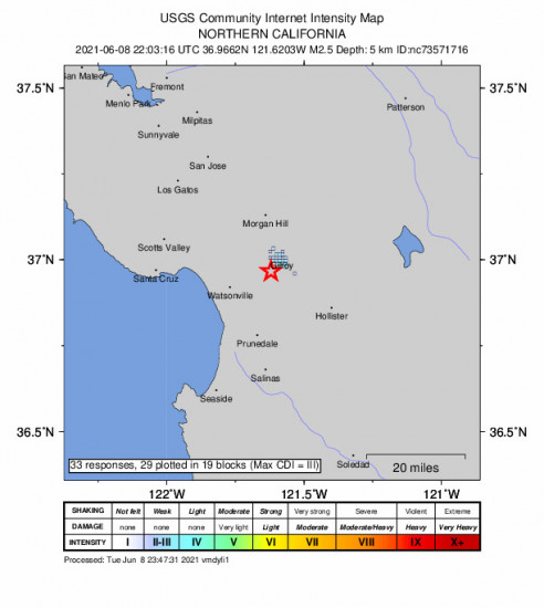 GEO Community Internet Intensity Map for the Gilroy, Ca 2.46m Earthquake, Tuesday Jun. 08 2021, 3:03:16 PM