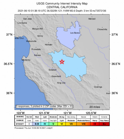 Community Internet Intensity Map for the Pinnacles, Ca 2.62m Earthquake, Wednesday Jun. 09 2021, 6:38:19 PM