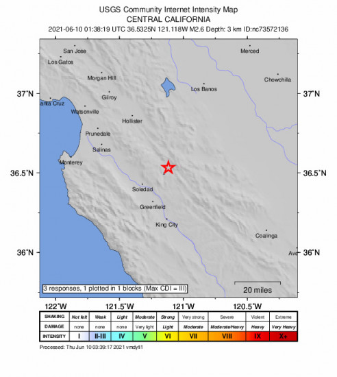 GEO Community Internet Intensity Map for the Pinnacles, Ca 2.62m Earthquake, Wednesday Jun. 09 2021, 6:38:19 PM