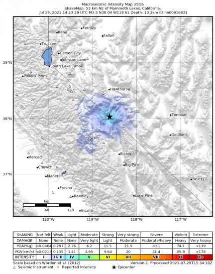 Macroseismic Intensity Map for the Benton, California 3.5m Earthquake, Thursday Jul. 29 2021, 7:23:29 AM