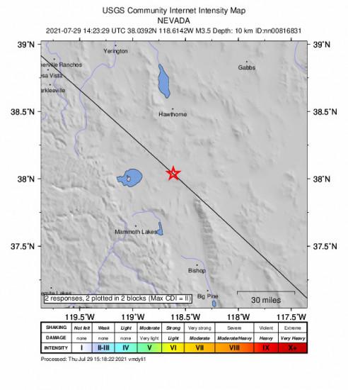 GEO Community Internet Intensity Map for the Benton, California 3.5m Earthquake, Thursday Jul. 29 2021, 7:23:29 AM