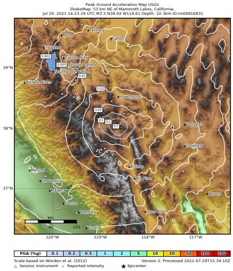 Peak Ground Acceleration Map for the Benton, California 3.5m Earthquake, Thursday Jul. 29 2021, 7:23:29 AM