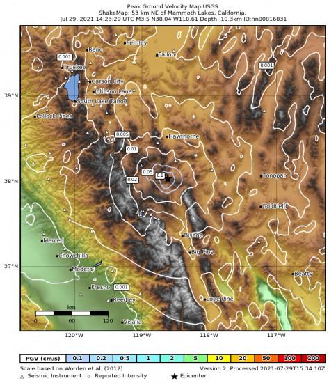Peak Ground Velocity Map for the Benton, California 3.5m Earthquake, Thursday Jul. 29 2021, 7:23:29 AM