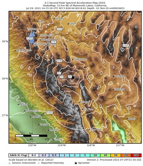 0.3 Second Peak Spectral Acceleration Map for the Benton, California 3.5m Earthquake, Thursday Jul. 29 2021, 7:23:29 AM