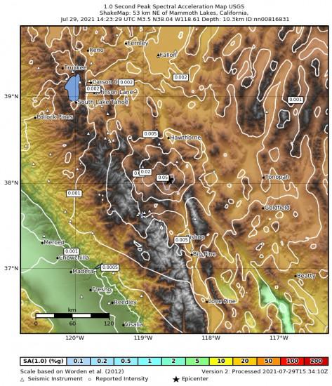 1 Second Peak Spectral Acceleration Map for the Benton, California 3.5m Earthquake, Thursday Jul. 29 2021, 7:23:29 AM
