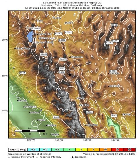3 Second Peak Spectral Acceleration Map for the Benton, California 3.5m Earthquake, Thursday Jul. 29 2021, 7:23:29 AM