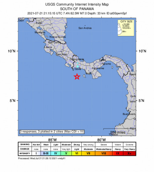 Community Internet Intensity Map for the Punta De Burica, Panama 7m Earthquake, Wednesday Jul. 21 2021, 4:15:15 PM