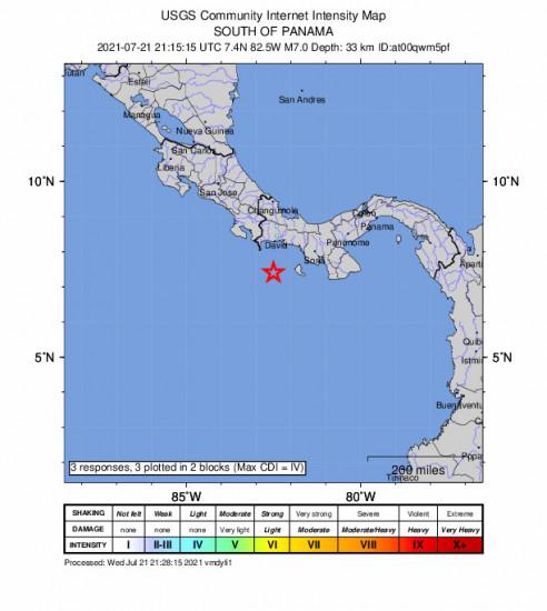 GEO Community Internet Intensity Map for the Punta De Burica, Panama 7m Earthquake, Wednesday Jul. 21 2021, 4:15:15 PM