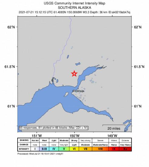 GEO Community Internet Intensity Map for the Point Mackenzie, Alaska 3.3m Earthquake, Wednesday Jul. 21 2021, 7:12:15 AM