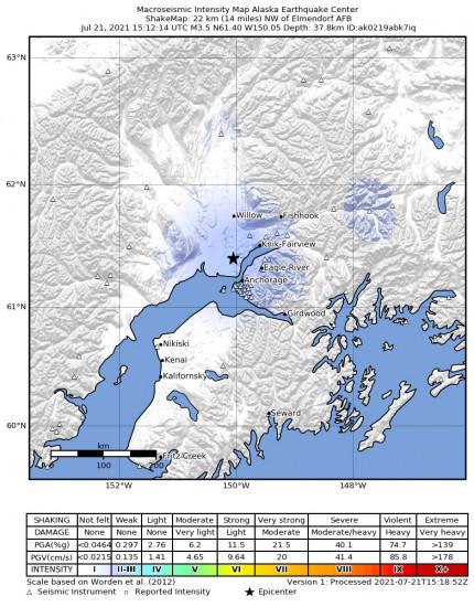 Macroseismic Intensity Map for the Point Mackenzie, Alaska 3.3m Earthquake, Wednesday Jul. 21 2021, 7:12:15 AM