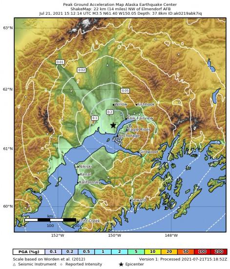 Peak Ground Acceleration Map for the Point Mackenzie, Alaska 3.3m Earthquake, Wednesday Jul. 21 2021, 7:12:15 AM