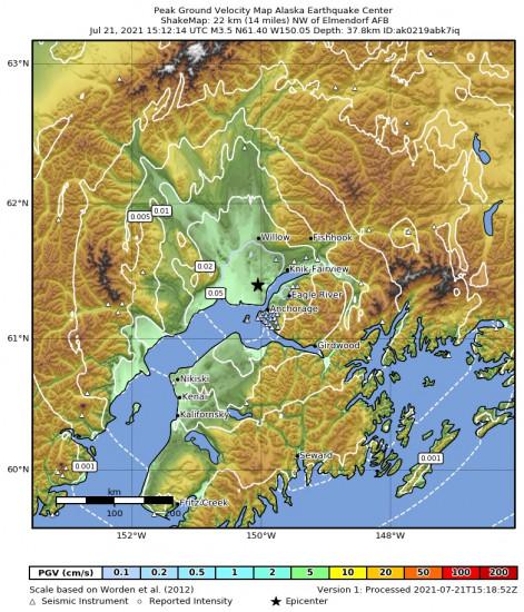 Peak Ground Velocity Map for the Point Mackenzie, Alaska 3.3m Earthquake, Wednesday Jul. 21 2021, 7:12:15 AM