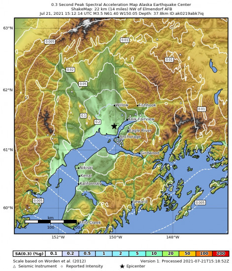 0.3 Second Peak Spectral Acceleration Map for the Point Mackenzie, Alaska 3.3m Earthquake, Wednesday Jul. 21 2021, 7:12:15 AM