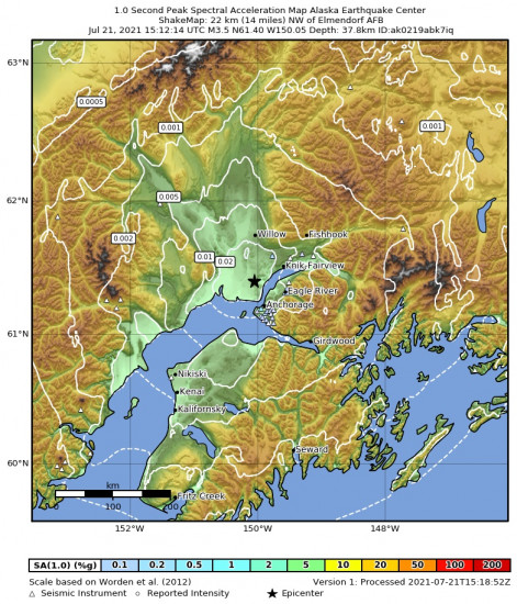 1 Second Peak Spectral Acceleration Map for the Point Mackenzie, Alaska 3.3m Earthquake, Wednesday Jul. 21 2021, 7:12:15 AM