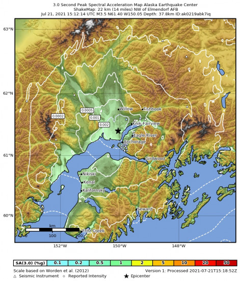 3 Second Peak Spectral Acceleration Map for the Point Mackenzie, Alaska 3.3m Earthquake, Wednesday Jul. 21 2021, 7:12:15 AM