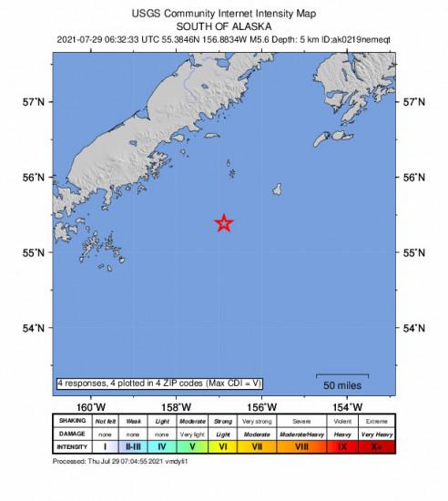 Community Internet Intensity Map for the Chignik, Alaska 5.6m Earthquake, Wednesday Jul. 28 2021, 10:32:33 PM
