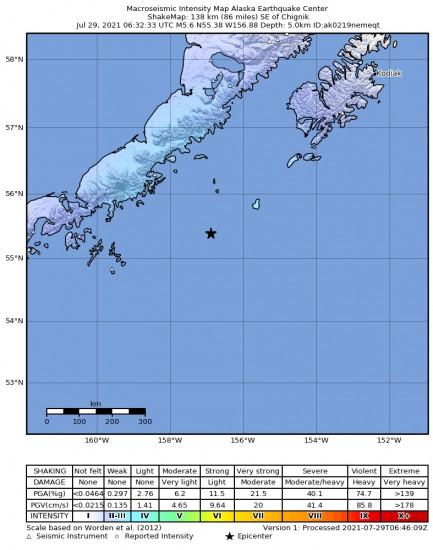 Macroseismic Intensity Map for the Chignik, Alaska 5.6m Earthquake, Wednesday Jul. 28 2021, 10:32:33 PM