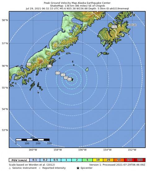 Peak Ground Velocity Map for the Chignik, Alaska 5.6m Earthquake, Wednesday Jul. 28 2021, 10:32:33 PM