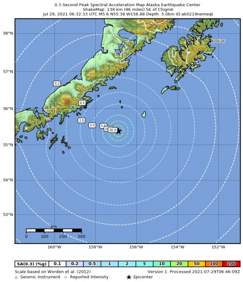 0.3 Second Peak Spectral Acceleration Map for the Chignik, Alaska 5.6m Earthquake, Wednesday Jul. 28 2021, 10:32:33 PM