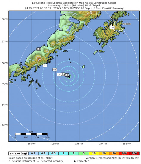 1 Second Peak Spectral Acceleration Map for the Chignik, Alaska 5.6m Earthquake, Wednesday Jul. 28 2021, 10:32:33 PM