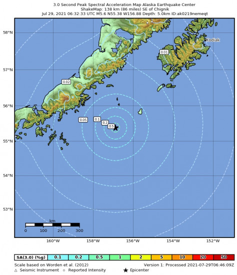 3 Second Peak Spectral Acceleration Map for the Chignik, Alaska 5.6m Earthquake, Wednesday Jul. 28 2021, 10:32:33 PM