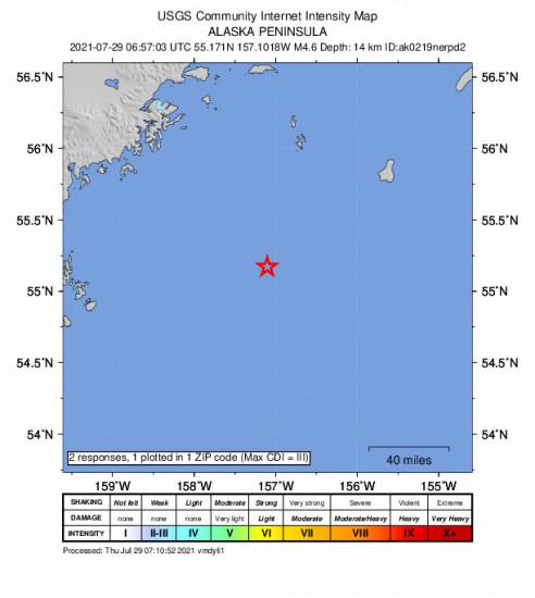 Community Internet Intensity Map for the Chignik, Alaska 4.6m Earthquake, Wednesday Jul. 28 2021, 10:57:03 PM