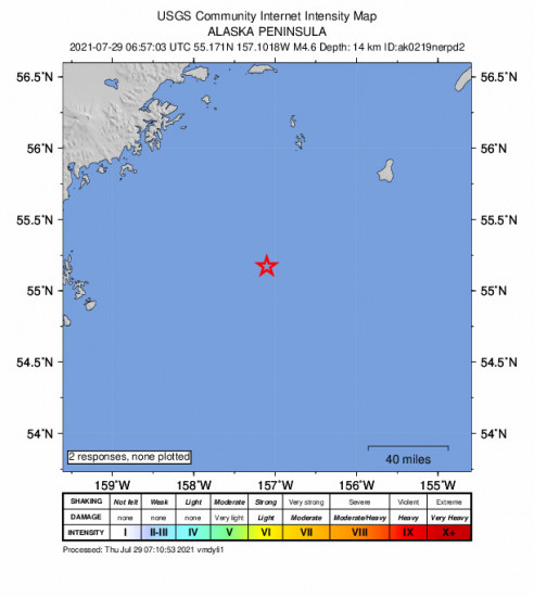 GEO Community Internet Intensity Map for the Chignik, Alaska 4.6m Earthquake, Wednesday Jul. 28 2021, 10:57:03 PM