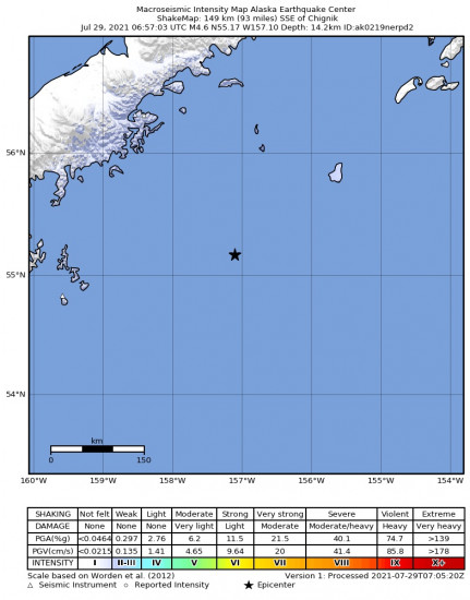 Macroseismic Intensity Map for the Chignik, Alaska 4.6m Earthquake, Wednesday Jul. 28 2021, 10:57:03 PM