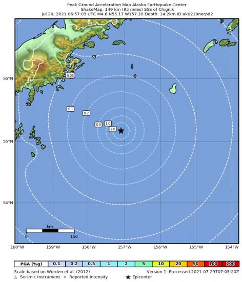 Peak Ground Acceleration Map for the Chignik, Alaska 4.6m Earthquake, Wednesday Jul. 28 2021, 10:57:03 PM
