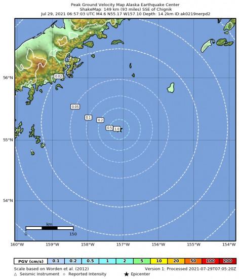Peak Ground Velocity Map for the Chignik, Alaska 4.6m Earthquake, Wednesday Jul. 28 2021, 10:57:03 PM