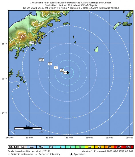 1 Second Peak Spectral Acceleration Map for the Chignik, Alaska 4.6m Earthquake, Wednesday Jul. 28 2021, 10:57:03 PM