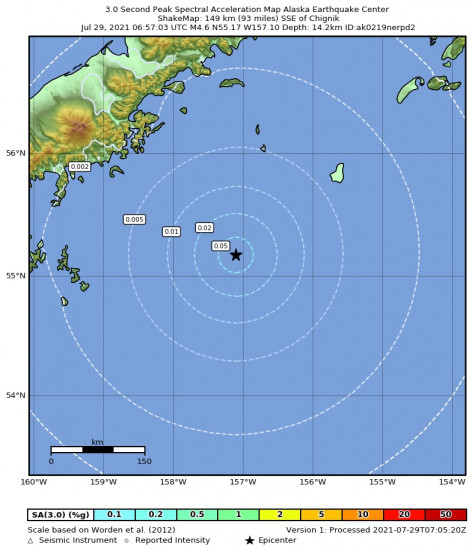 3 Second Peak Spectral Acceleration Map for the Chignik, Alaska 4.6m Earthquake, Wednesday Jul. 28 2021, 10:57:03 PM